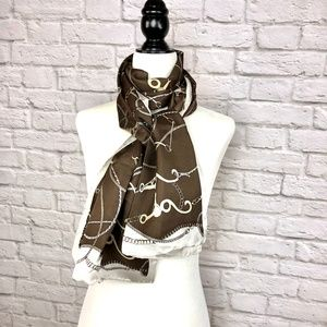Accessories - Brown and Gold Silk Scarf